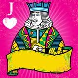 Jack colorido dos corações com ilustração da bandeira ilustração stock