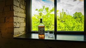 Jack Daniel s, el ningún viejo de Tennessee Whiskey Jack Daniel 7 whisky, Tennessee, borbón, alcohol imagenes de archivo