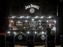 Jack Daniel`s logo on the terrace of a sponsored bar in Belgrade. Jack Daniel`s is an American Whiskey Distillery from Tennessee stock images