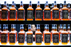 Jack Daniels Old No. 7 Whiskey. Rows of Jack Daniels Old No. 7 Whiskey in a bar Stock Photography