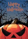 Jack on the dark grave forest illustration for halloween Stock Photo