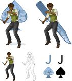 Jack de la mafia afroamericana del hombre de las espadas que se pelea Imagenes de archivo