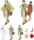 Jack del muchacho de los diamantes con un sistema de tarjeta de la mafia del arma Fotos de archivo