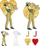 Jack del sistema de tarjeta de Mafia del músico de la raza mixta de los corazones Fotos de archivo libres de regalías