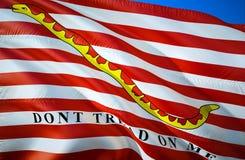 Jack der Flagge Vereinigter Staaten Treten Sie nicht auf mir Das nationale Sonderzeichen von USA See, Wiedergabe 3D See-wellenart stock abbildung