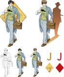 Jack of diamonds asian boy with a gun Mafia card Stock Photos