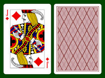 Jack of diamonds. Playing card with a Jack of diamonds and backside background. There is in addition a vector format Royalty Free Stock Photography