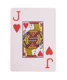 Jack do cartão de jogo dos corações em um branco Fotografia de Stock Royalty Free