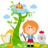 Jack ed il gambo di una pianta di fagioli magico royalty illustrazione gratis