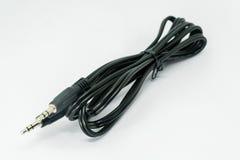 3 jack et câble de 5mm d'isolement sur le fond blanc Photographie stock