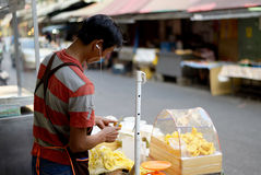 Jack fruit seller in Bangkok, Thailand Royalty Free Stock Images