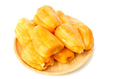 Jack fruit in wooden plate  on white background. Royalty Free Stock Image