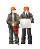 Jack hammer worker and project manager. Builders working on construction works illustration. Deputy director, welder, electrician, project manager, architect Stock Photography