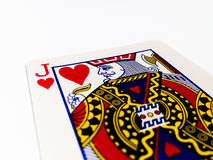 Jack Hearts Card with White Background. A playing card is a piece of specially prepared heavy paper, thin cardboard, plastic-coated paper, cotton-paper blend, or Royalty Free Stock Images