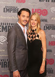 Jack Huston and Shannan Click. Actor Jack Huston, who plays the role of disfigured WWI veteran Richard Harrow, and model Shannan Click, arrive on the red carpet stock photo