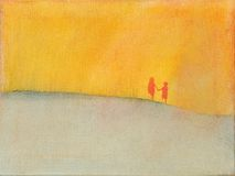 Jack and Jill illustation. This is a photo of an acrylic painting (an illustration) of two children, a modern day Jack and Jill, walking through a barren field Royalty Free Stock Photos