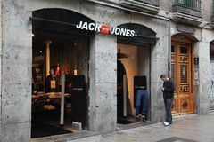 Jack Jones. MADRID, SPAIN - OCTOBER 21, 2012: Jack Jones fashion store in Madrid. Jack Jones is part of Bestseller, Danish clothing company which also owns the Stock Images