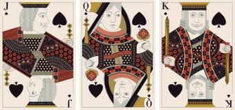 Jack, König, Königin des Spatenvektors Stockfotografie