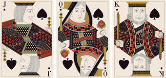 Jack, König, Königin des Spatenvektors stock abbildung