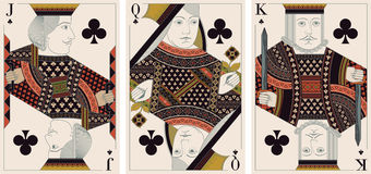 Jack, king,queen of clubs- vector Stock Photo