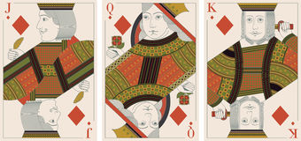 Jack, king,queen of diamonds- vector Stock Image