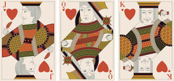 Jack, king,queen of hearts - vector Stock Image
