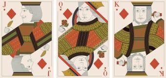 Jack, koning, koningin van diamantenvector Stock Afbeelding
