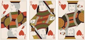 Jack, koning, koningin van harten - vector Stock Afbeelding
