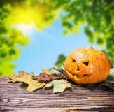 Jack lantaarn voor Halloween uit pompoenen wordt gemaakt die Royalty-vrije Stock Foto