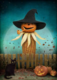 Jack Lantern and Corn. Greeting card for Halloween with Jack lantern, black cat and corn. Computer graphics Stock Photography