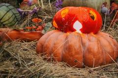 Jack Lantern for Halloween on a pumpkin and luminous in autumn Stock Photos