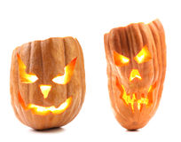 Jack lantern with scary evil faces. Stock Photo