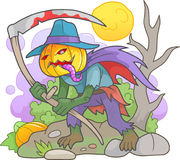 Jack lantern with a scythe in his hands. Sinister Jack lantern with a scythe in his hands Royalty Free Stock Photo