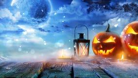 Jack Lanterns Glowing At Moonlight-de Achtergrond van de Grafiekanimatie royalty-vrije illustratie