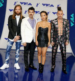 Jack Lawless, Joe Jonas, JinJoo Lee and Cole Whittle of DNCE. At the 2017 MTV Video Music Awards held at the Forum in Inglewood, USA on August 27, 2017 Royalty Free Stock Image