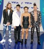 Jack Lawless, Joe Jonas, JinJoo Lee y Cole Whittle de DNCE imagen de archivo libre de regalías