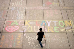 Jack Layton - Chalk Memorial. Stock Photo