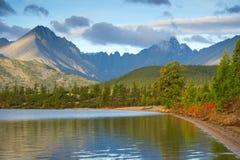 Jack London Lake. Autumn lake in the mountains of Big Ridge Anngachag Royalty Free Stock Photos
