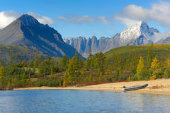 Jack London Lake. Autumn lake in the mountains of Big Ridge Anngachag Royalty Free Stock Photo