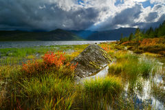 Jack London Lake. Autumn lake in the mountains of Big Ridge Anngachag Stock Photography
