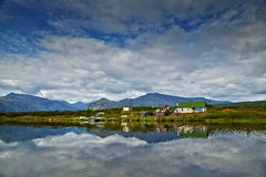 Jack London's lake. Small house on island. reflexions Stock Photo