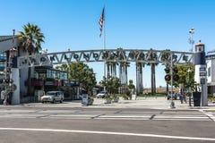 Jack London Square Dock-ingang in Oakland, Californië Royalty-vrije Stock Foto's