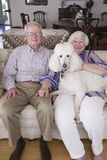 Jack and Lynn Sohm. Two senior citizens with white Poodle posing on couch in Annapolis, Maryland Royalty Free Stock Photos