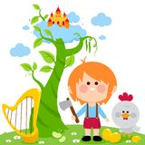 Jack and the magic beanstalk. Jack with an ax cutting the magic beanstalk, the golden harp and the chicken laying the golden eggs Royalty Free Stock Photography