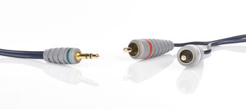 Jack and mini-jack plug sound or tv glossy wire isolated on whit Stock Photo