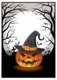 Jack na ciemnej doniosłej lasowej ilustraci dla Halloween Obraz Royalty Free