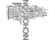 Jack Nicholson Word Cloud Concept Immagini Stock