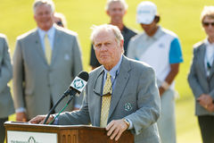 Jack Nicklaus at the Memorial Tournament. Hideki Matsuyama receiving the trophy from Jack Nicklaus on the 18th green at the 2014 Memorial Tournament Royalty Free Stock Images