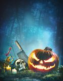 Halloween background with glowing Jack o' lantern royalty free stock image