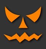 Jack o de gezichten die van de lantaarnpompoen op zwarte achtergrond gloeien vector illustratie